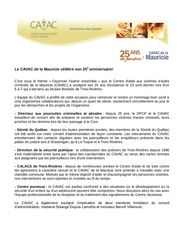 article 25e anniversaire du cavac de la mauricie
