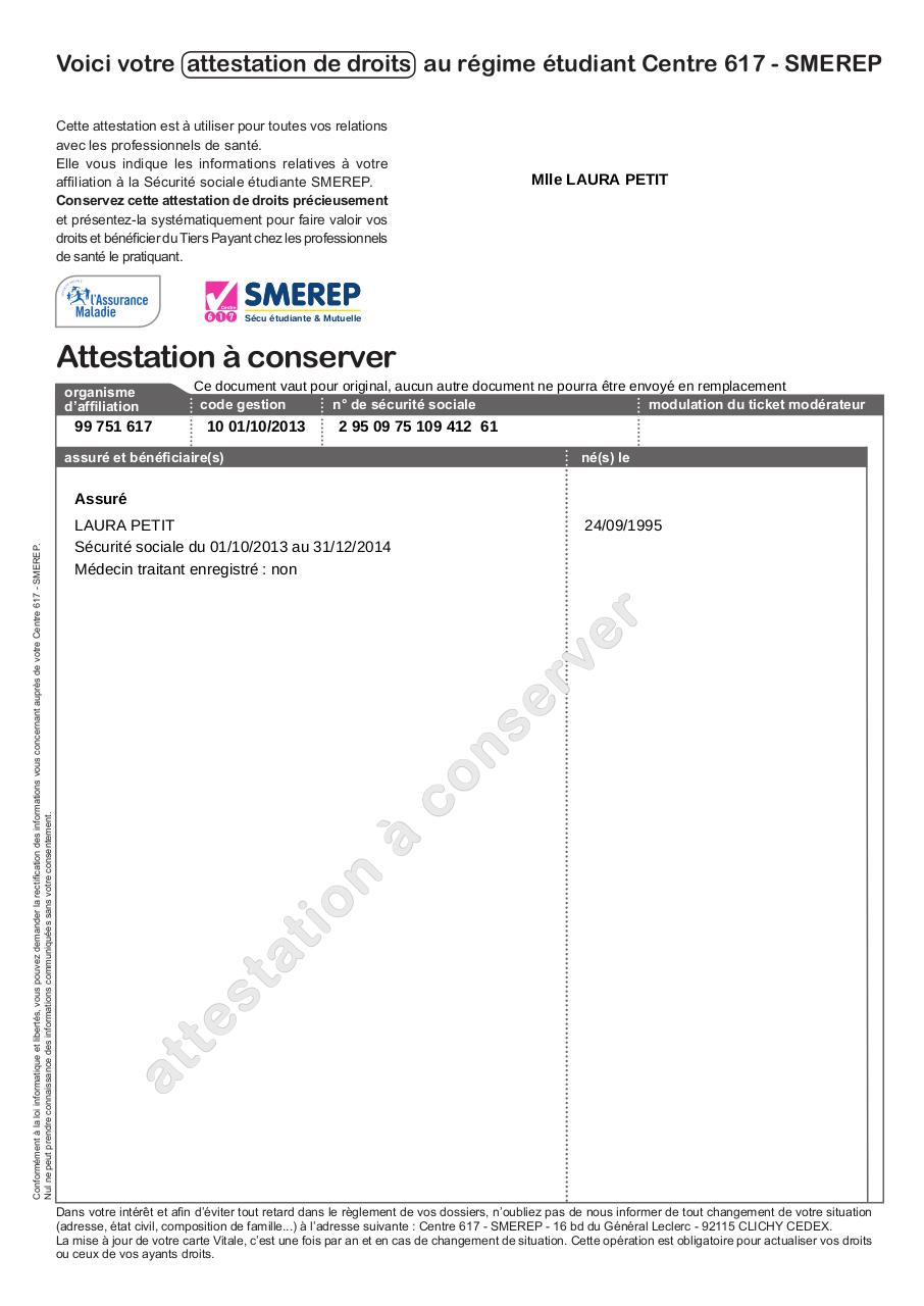 attestation carte vitale smerep attestation securite sociale   Fichier PDF