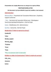 document presentation de l equipe minecrown