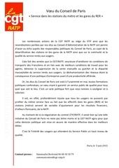 communique de presse cgt ratp conseil de paris mai 2015