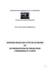 bilan etat de la nation kongolaise 1