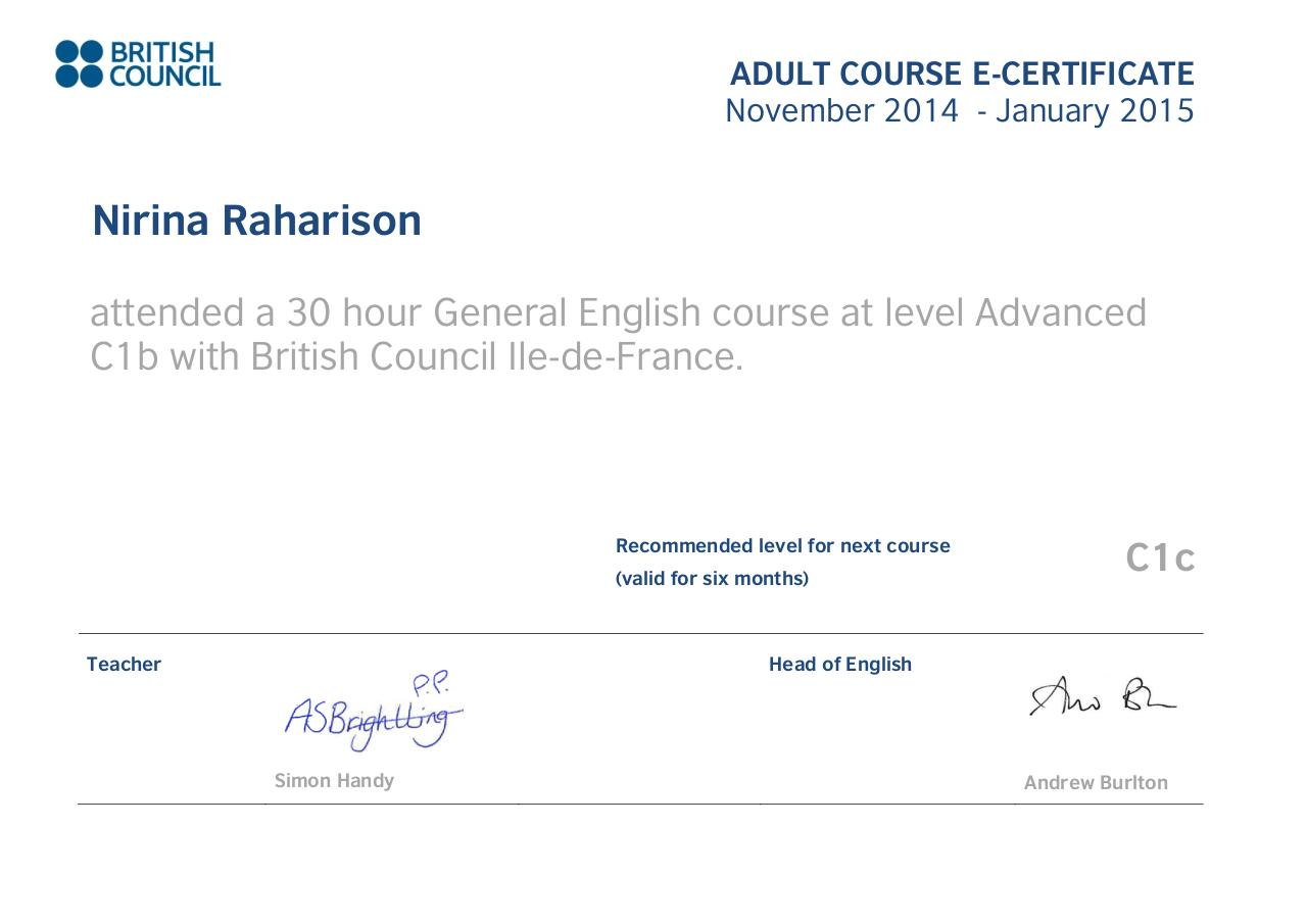 e-certificate of english advanced level - nirina raharison par andre  marine  france