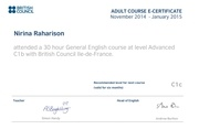 e certificate of english advanced level nirina raharison