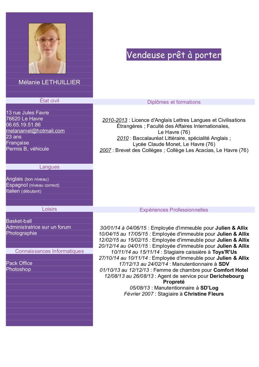 cv lethuillier vendeuse  cv lethuillier vendeuse pdf