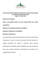 intervention de m ali benflis a l occasion de l ouverture du congres constitutif de talaiou el houriyet