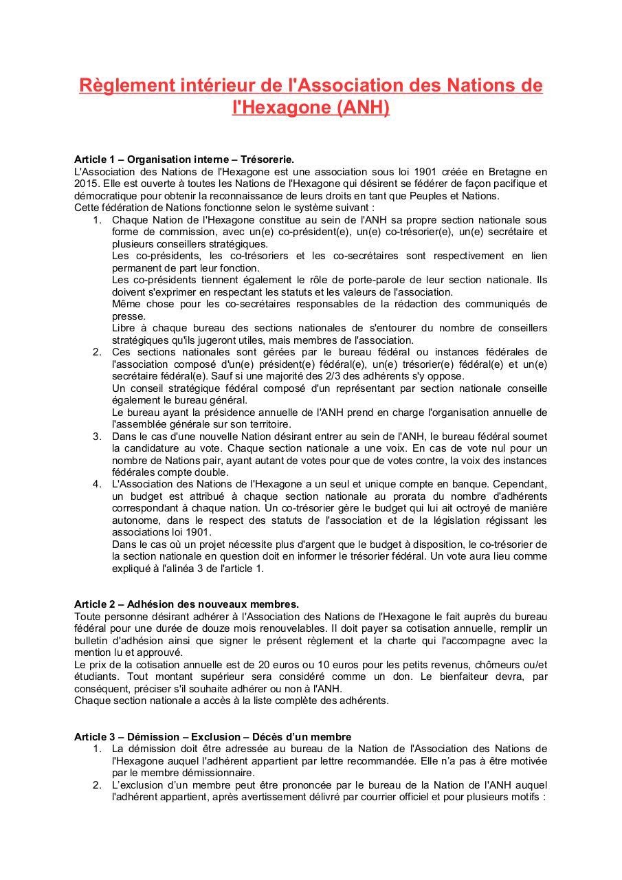 R glement int rieur par infocentre r glement int rieur for Reglement interieur association pdf