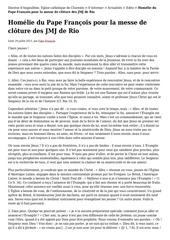 message du pape francois jmj 2013