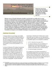 Energies alternatives durablesen milieu agricole