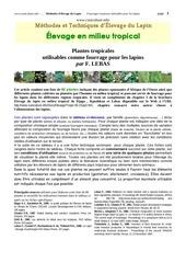 plantes tropicalesutilisables comme fourrage pour les lapins