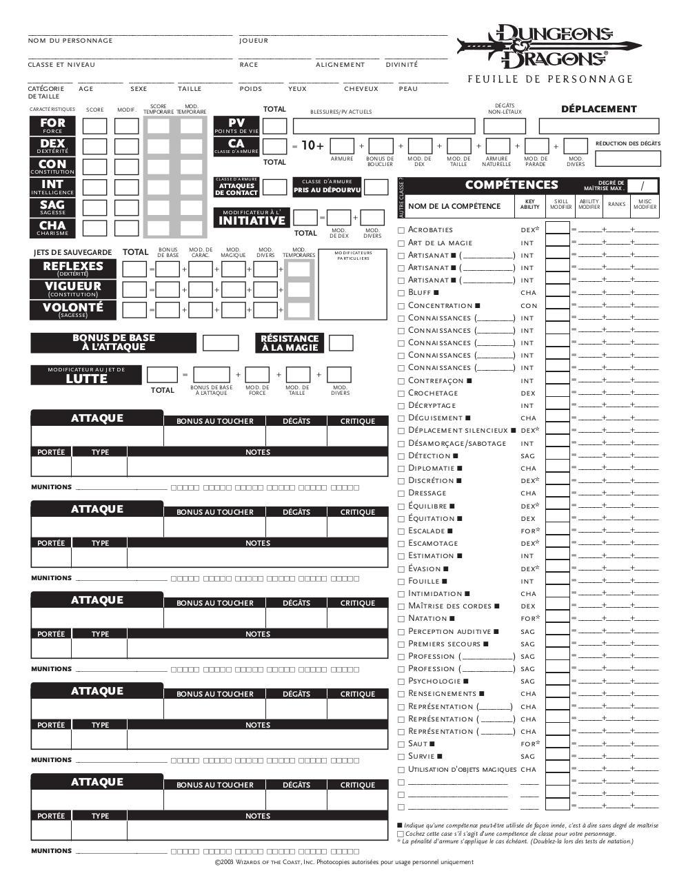 d u0026d 3 5 par bouly - 1 feuille de perso pdf
