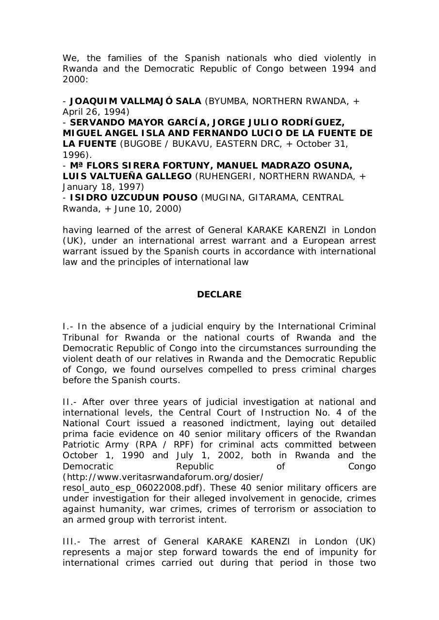 spanish-victims-families-communiqué-over-Karenzi-arrest.pdf - page 1/3