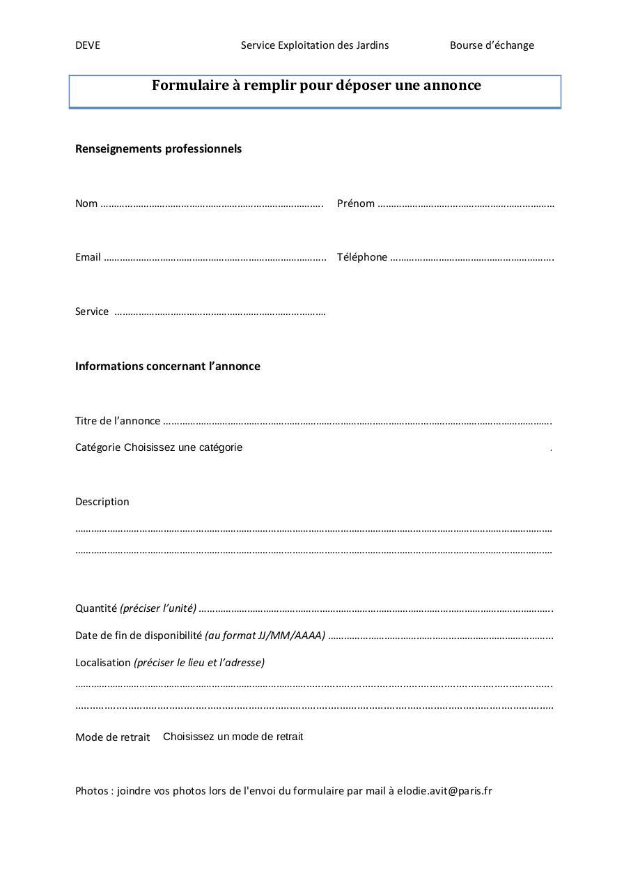 formulaire remplir pour d poser une annonce pdf par avite fichier pdf. Black Bedroom Furniture Sets. Home Design Ideas