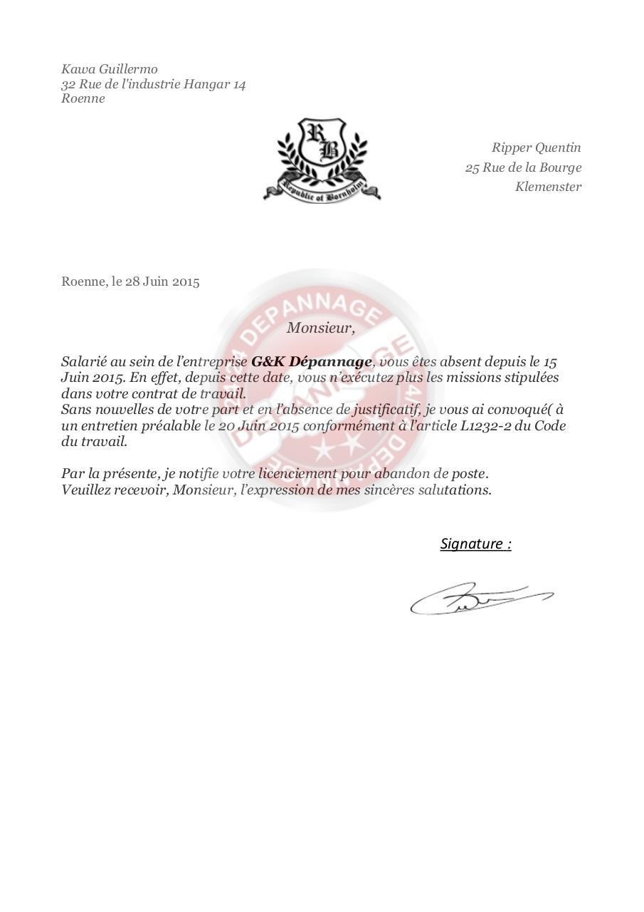 Lettre De Licenciment Par Guigui Lamlam Fichier Pdf