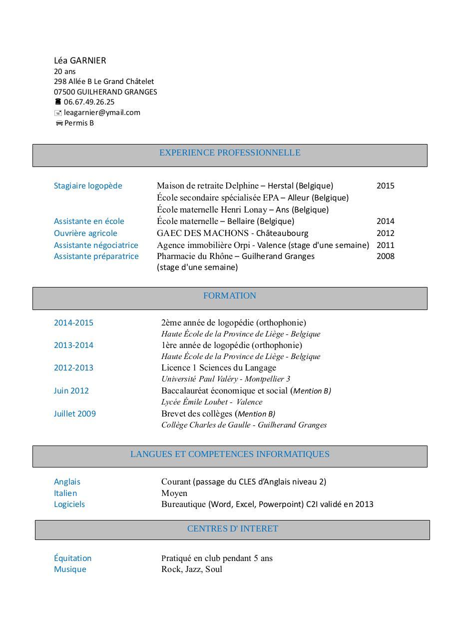 exemple cv fichier pdf