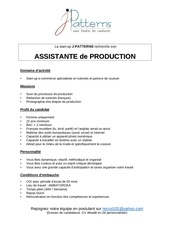 assistante production