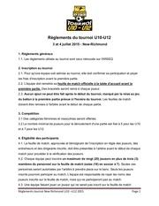 reglements du tournoi nr u10 u12