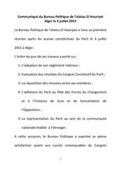 communique du bureau politique de talaiou el houriyet