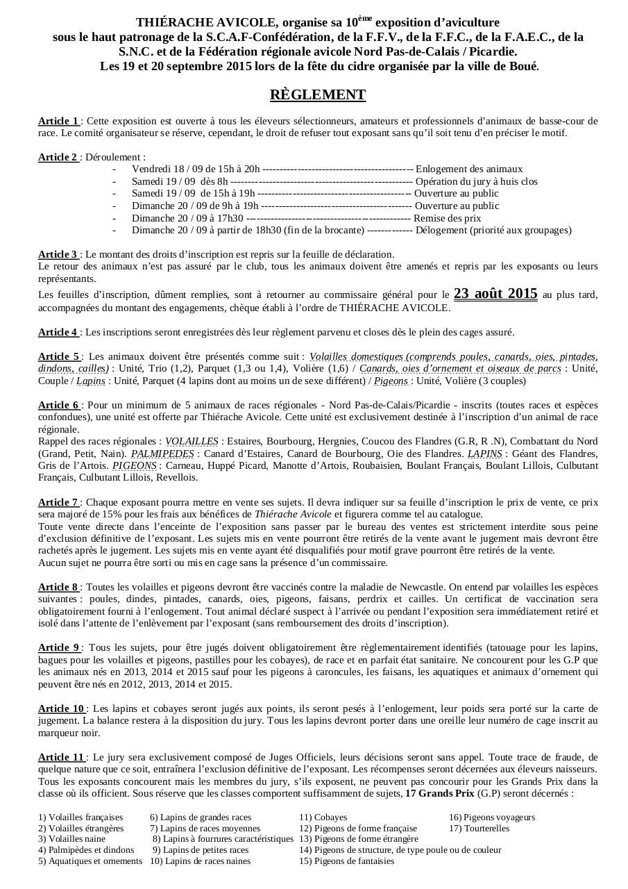 Règlement Exposition 2015 Par Mayeur Eddy Fichier Pdf