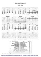 calendrier scolaire 2015 2016 2