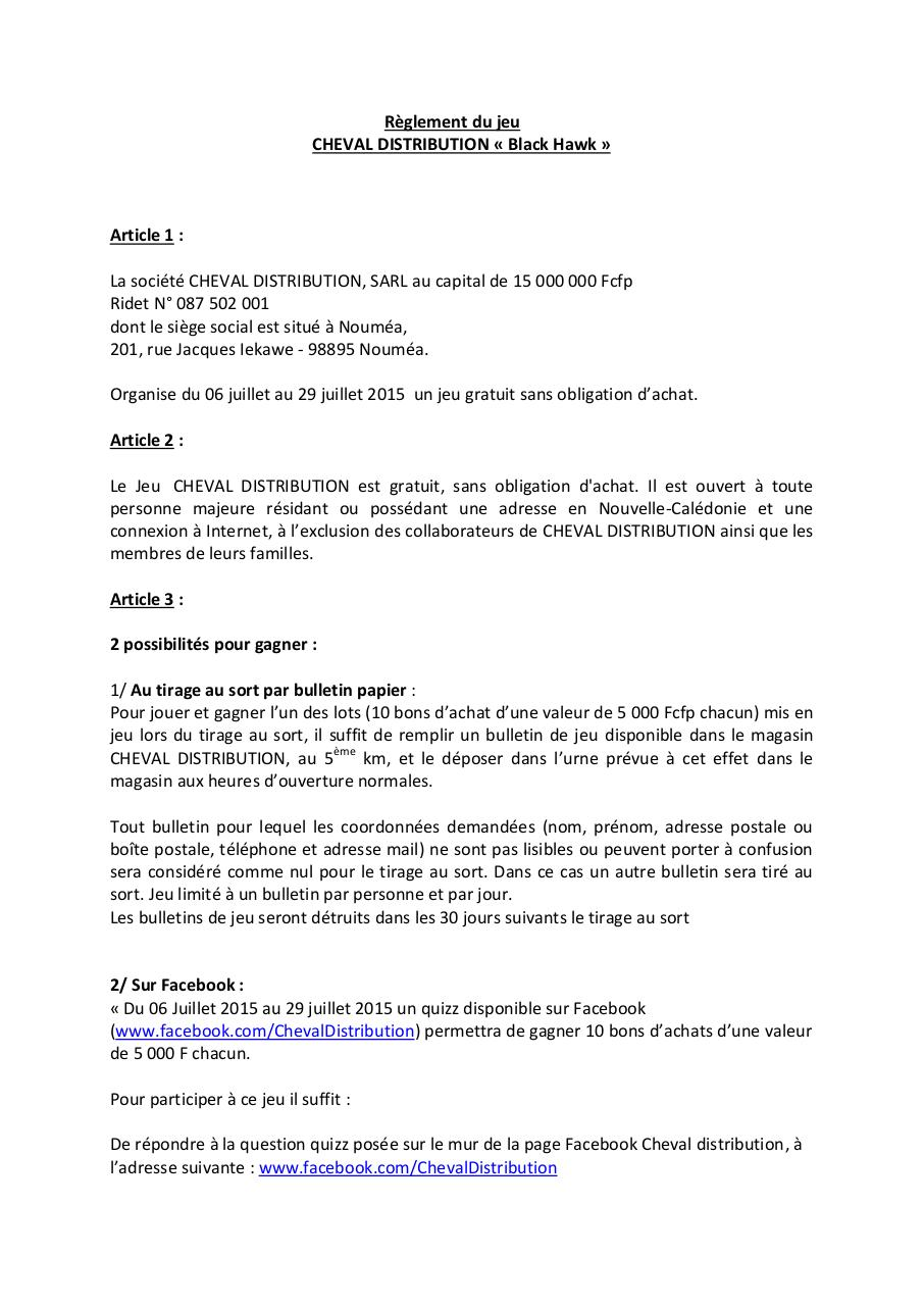 Aperçu du document Règlement Cheval distribution Black Hawk.pdf - page 1/3