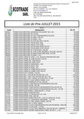 liste de prix juillet 2015