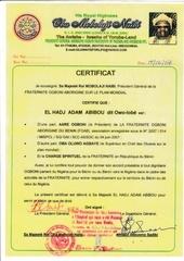 certificat delivre a l empereor
