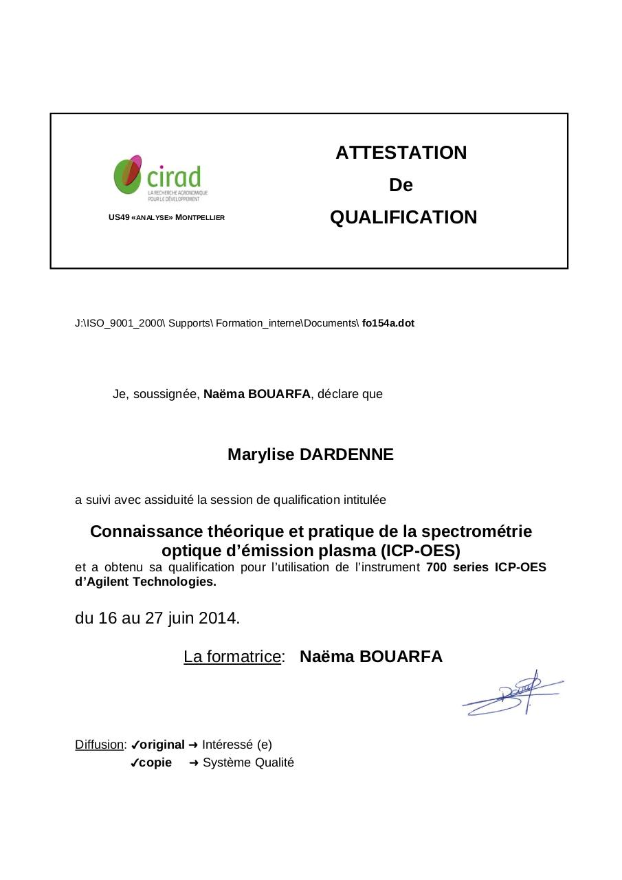 Aperçu du document Qualification ICP-OES_Marylise DARDENNE_2014.pdf - page 1/1