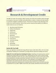 research development credit