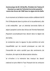 communique de m ali benflis president de talaiou el houriyet au sujet de l attentat terroriste perpetre contre des forces de l anp dans la region de ain defla