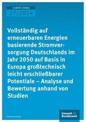 climate change 27 2014 vollstaendig auf erneuerbare energien basierende stromversorgung deutschlands