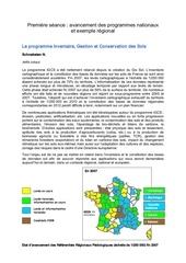 premiere seance avancement des programmes nationaux et exemple regional le programme inventaire gestion et conservation des sols