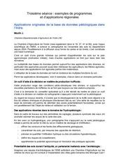 troisieme seance exemples de programmes et d applications regionales applications originales de la base de donnees pedologiques dans l indre
