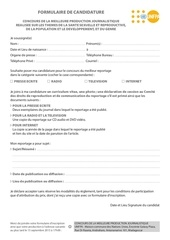 formulaire et reglement concours journaliste 2015