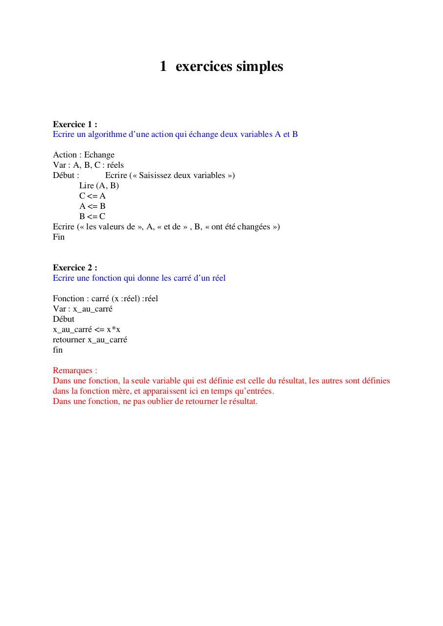 Sommaire - Exercices corrigés-Algorithme pdf - Fichier PDF