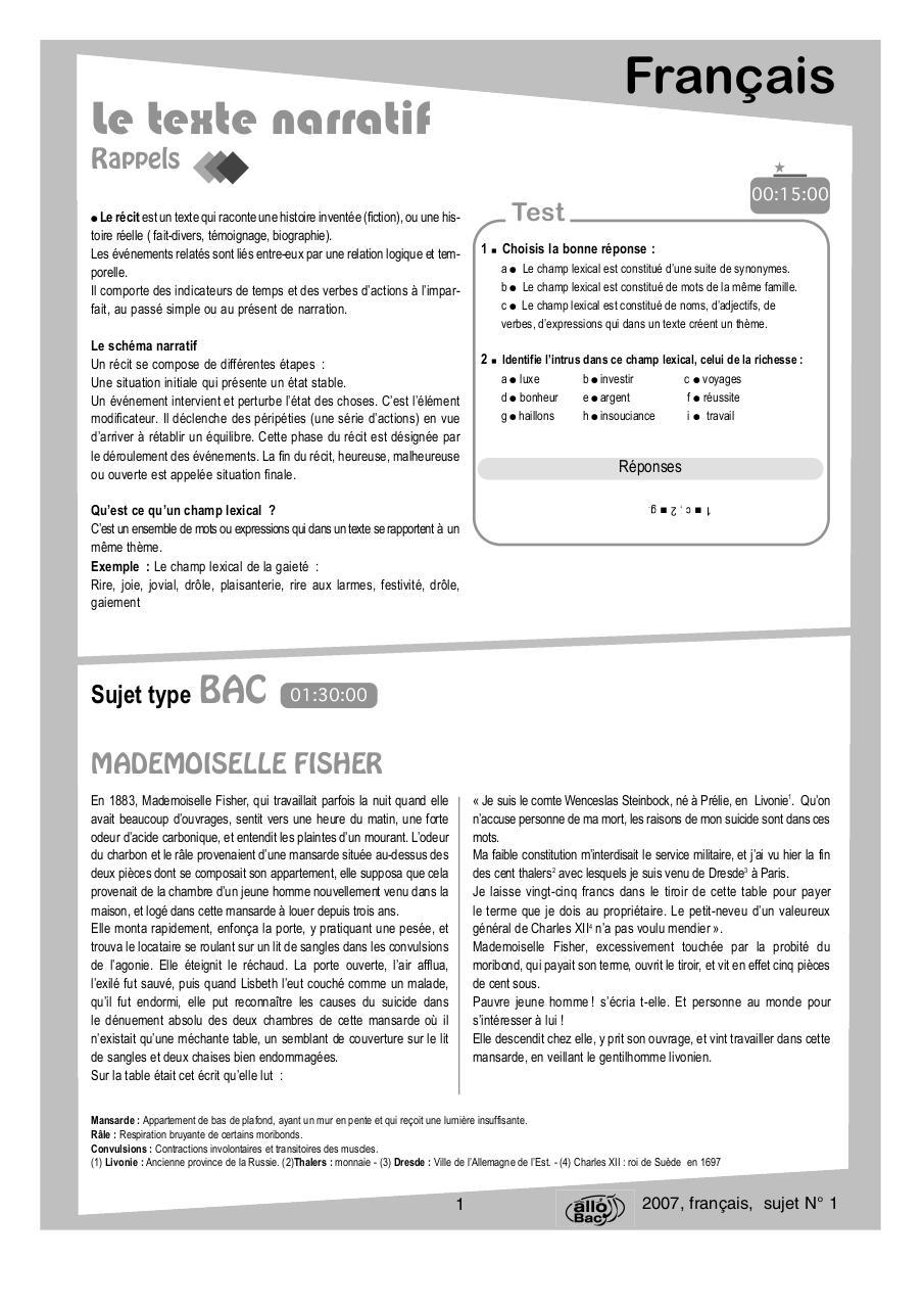 Sujet De Production écrite Texte Narratif - Texte Préféré