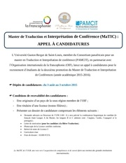 appel a candidatures matic 2015 2016