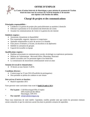offre d emploi charge projet comm