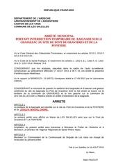 arrete interdiction baignade pont de gravieres et pontiere 14072015