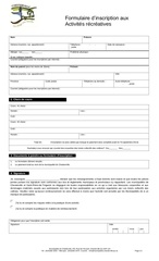 formulaire d inscription chester