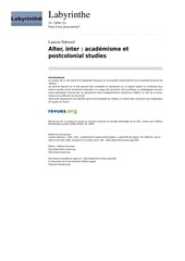 alter inter academisme et postcolonial studies