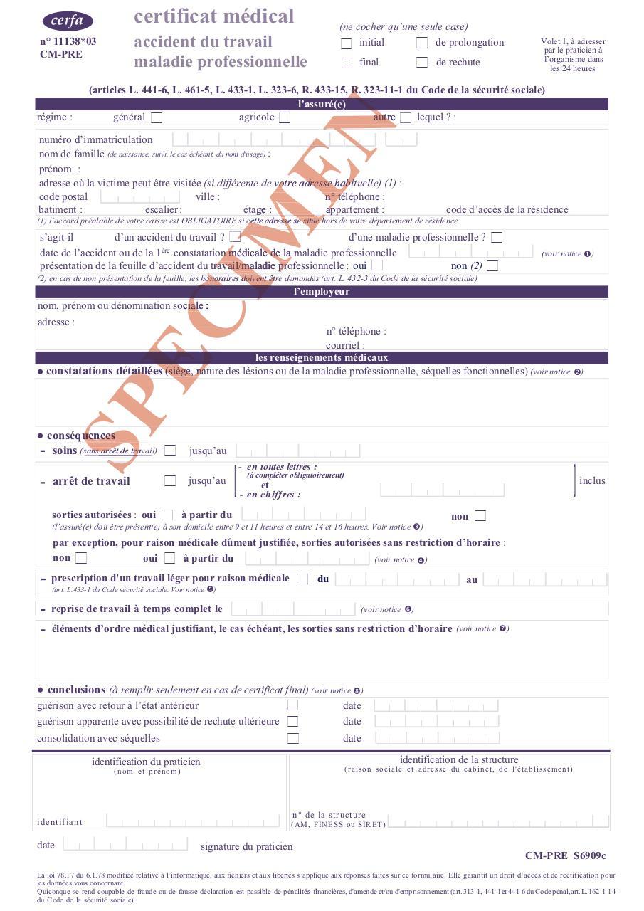 Cmi 2008 Modifdrp 2 Par Sarnette 01940 Certificat Arret De Travail