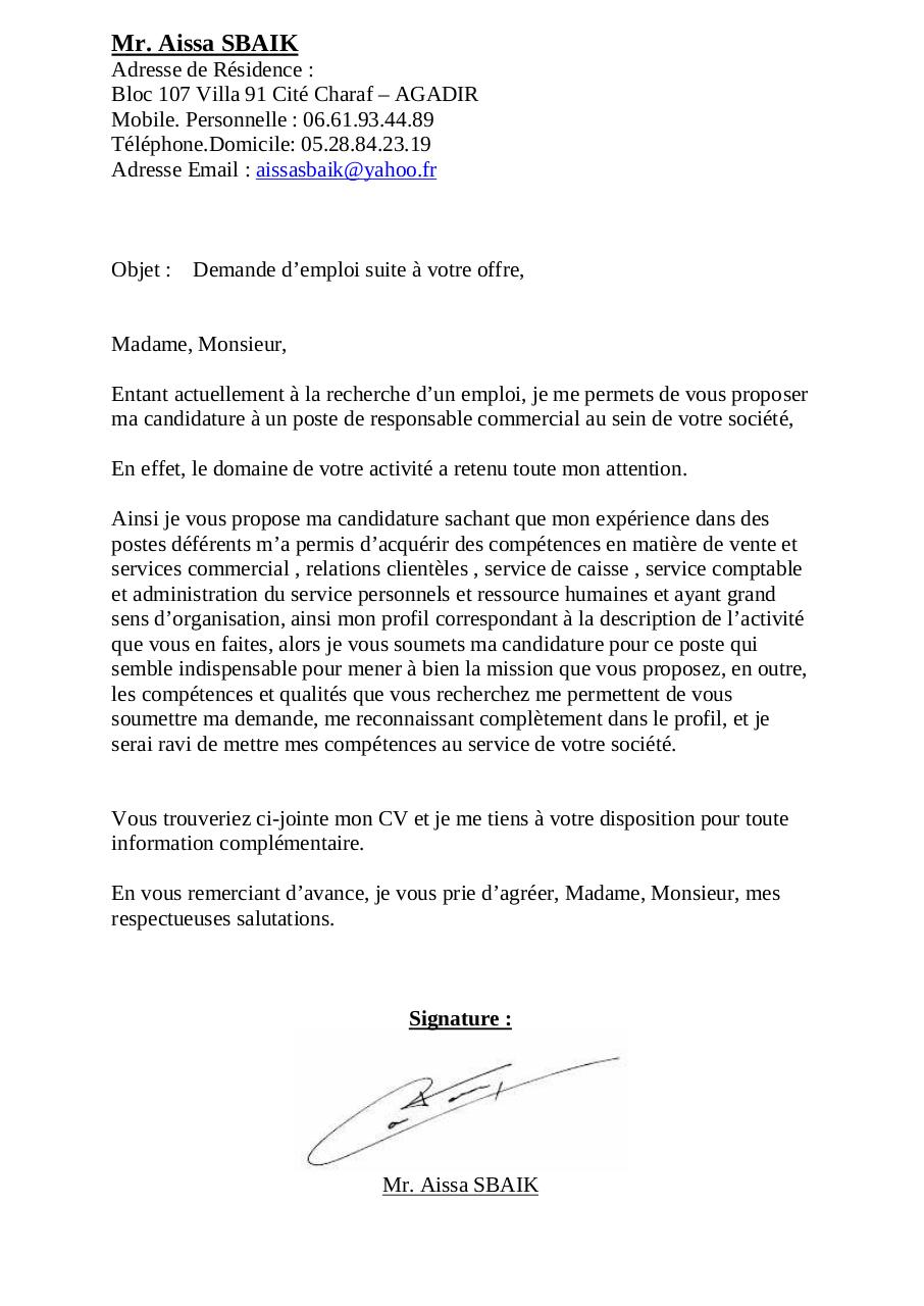 lettre de motivation mr aissa sbaik