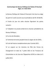4 communique du bureau politique de talaiou el houriyet