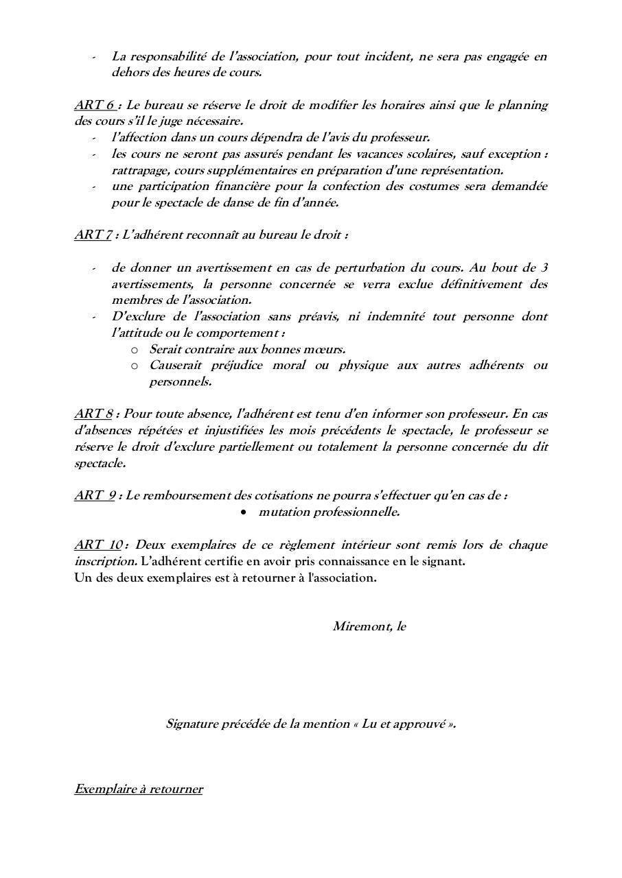 03 Reglement Interieur A Retourner 2015 2016 Par Isabelle Bonet