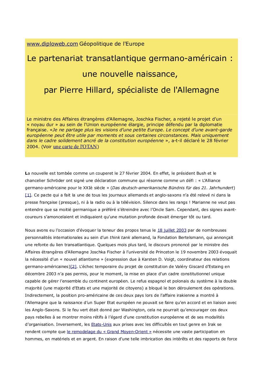 Partenariat Transatlantique Germano Américain Par W Ww Fichier Pdf