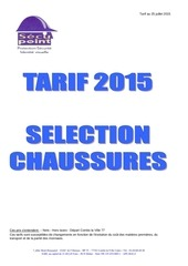 selection chaussures tarif juillet 2015