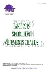 selection vEtements chauds tarif juin 2015