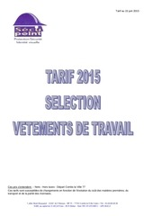 selection vEtements tarif juin 2015