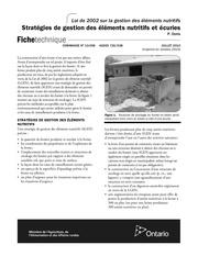 strategies de gestion des elements nutritifs et ecuries