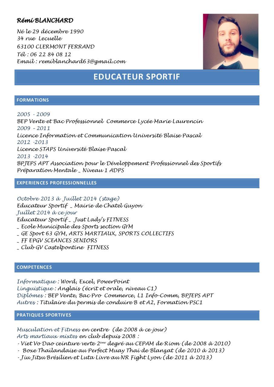 cv sport 2015 par blanchard